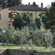 View of villa from pool, apartment with 4 bedrooms on ground level, closest to pool.
