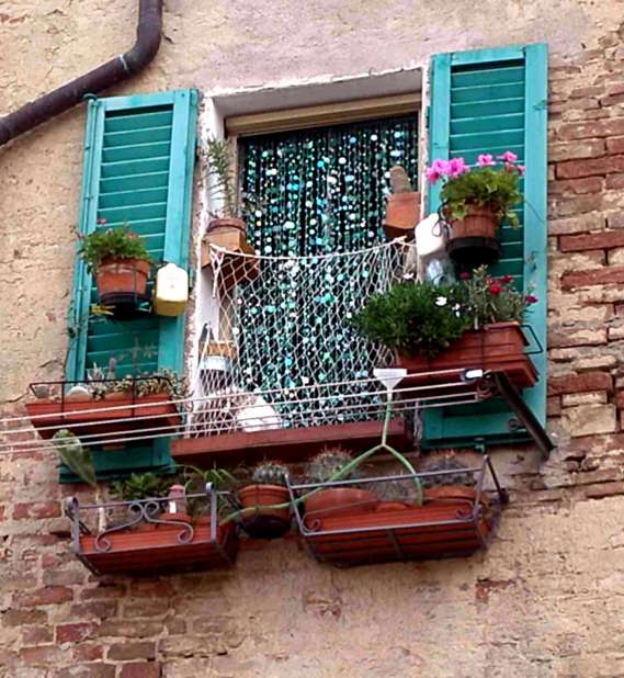 Window flowerboxes in Tuscany